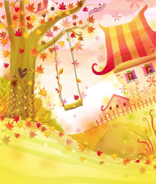 Детские фотообои - Осенний пейзаж (children-0000231)