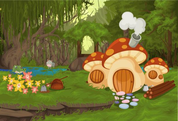 Фотообои детские грибы в лесу (children-0000240)