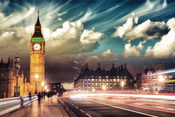 Фотообои Лондон, Биг-Бен вечерний (city-0001249)