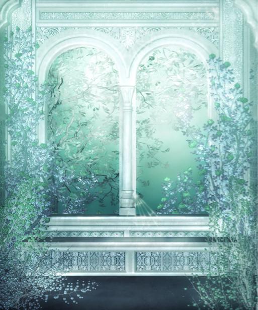 Фотообои цветущая арка в саду (fantasy-0000029)