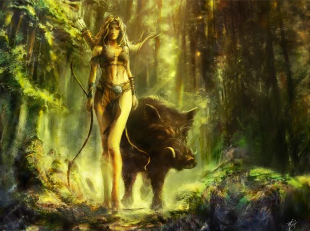 Фотообои лесная героиня в лесу (fantasy-0000062)