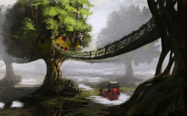 Фотообои сказочный подвесной мост (fantasy-0000075)