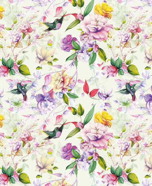 Фотообои Колибри в цветах (flowers-816)