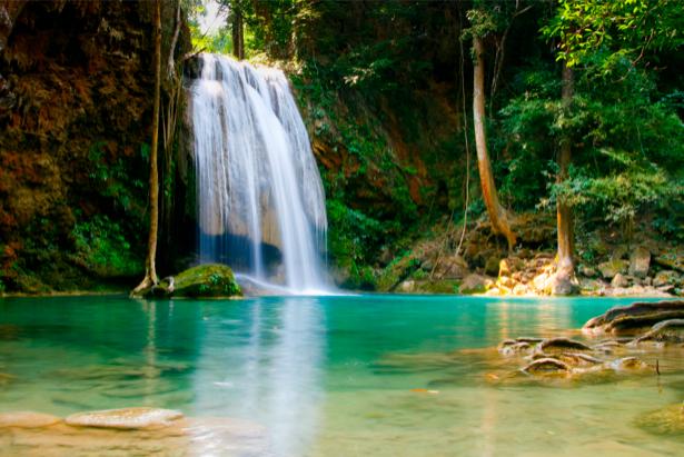 Фотообои с природой озеро горный водопад (nature-00189)