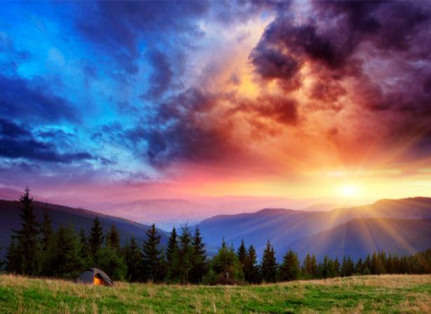 Фотообои горный пейзаж на закате (nature-00318)