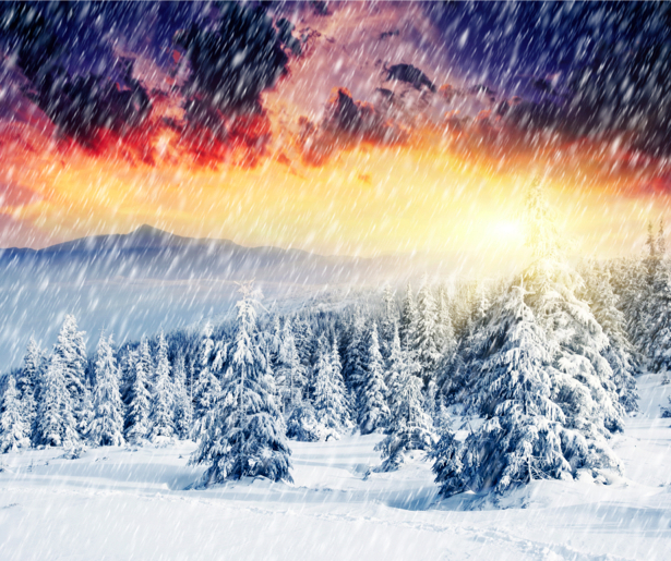 Фотообои горы закат зима (nature-00431)