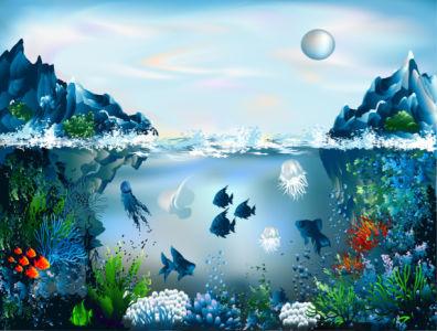 Фотообои для ванны рисованные (underwater-world-00189)