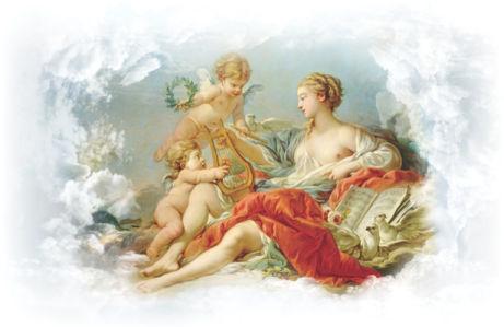 Фотообои амуры музыки фреска (angel-00021)