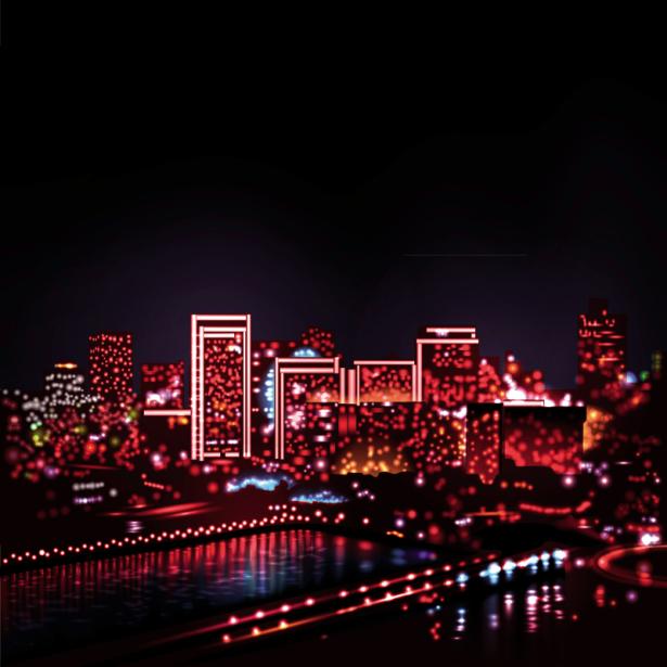 Фотошторы огни ночного города (bedroom-curtain-00015)