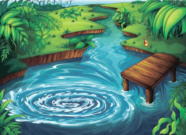 Фотообои детские река поляна мостик (children-0000245)