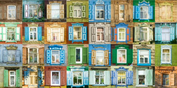 Фотообои окна фасад здания (city-0000576)