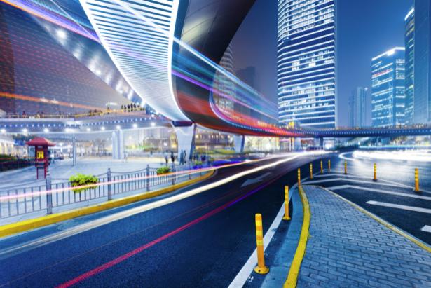 Фотообои Ночной мегаполис мост дорога (city-0000774)