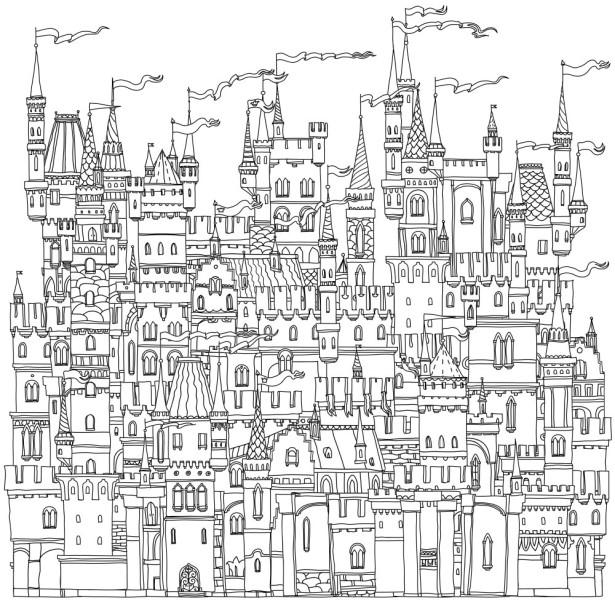 Обои раскраска Сказочные замки (color-21)