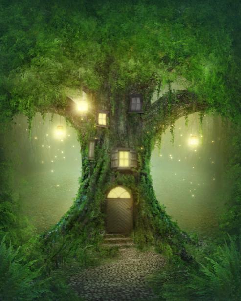 Фотообои в детскую дерево дом сказка (fantasy-0000148)