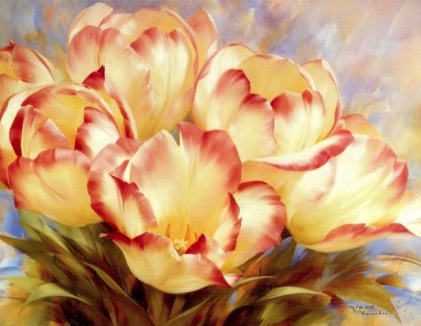 Фотообои на стену цветы -  Желтые тюльпаны (flowers-0000259)