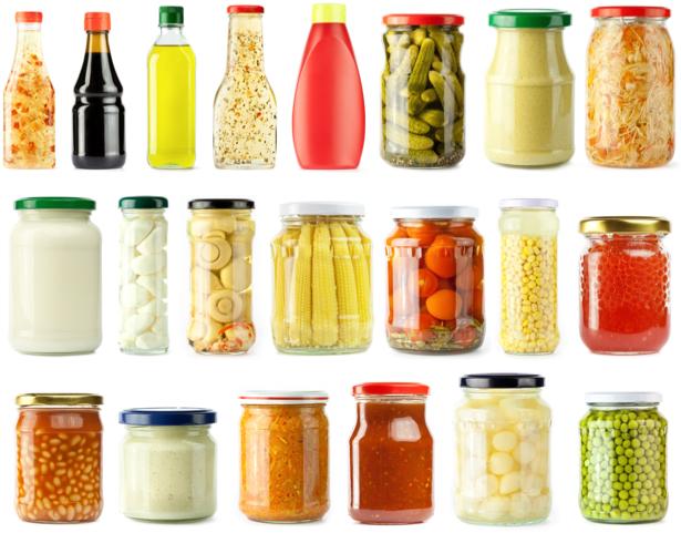 Фотообои для кухни консервация в ряд (food-0000076)