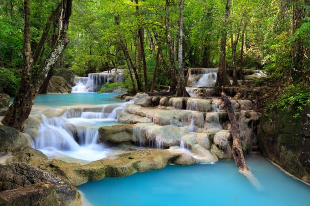 Фотообои водопад лес камни (nature-0000729)