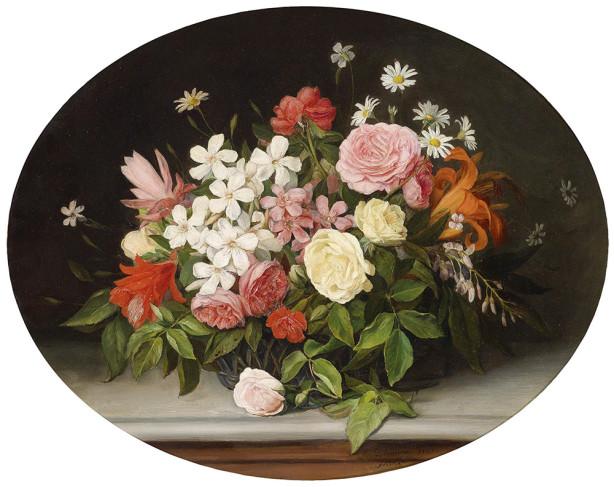 Картина корзина полная цветов (pf-121)