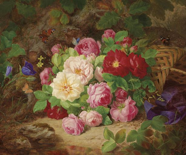 Картина розы с бабочками и голубая лента (pf-138)