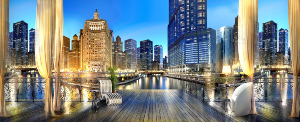 Фотообои Вечерний Чикаго (printmaking-0000117)