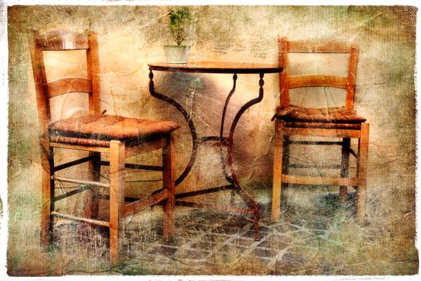 Фотообои стол и стулья (retro-vintage-0000146)