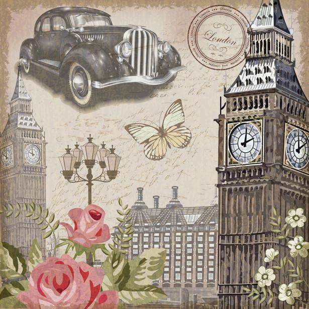 Фотообои Англия в графике (retro-vintage-399)