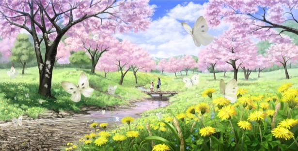 Детские фотообои цветущий сад (children-0000063)
