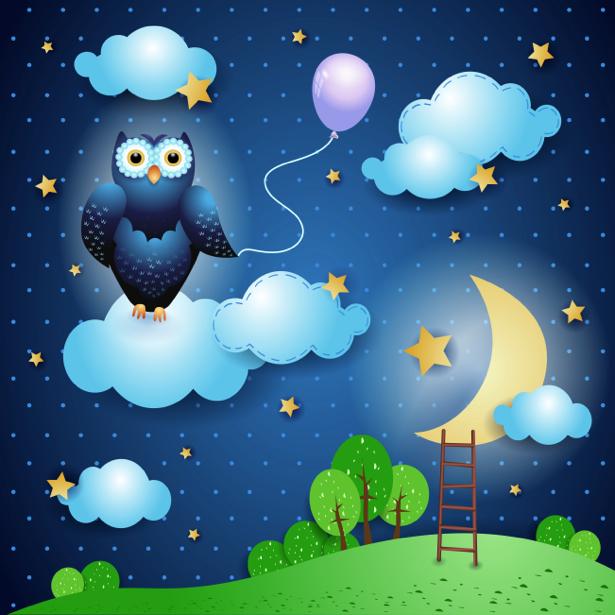 Детские фотообои ночь сова (children-0000214)