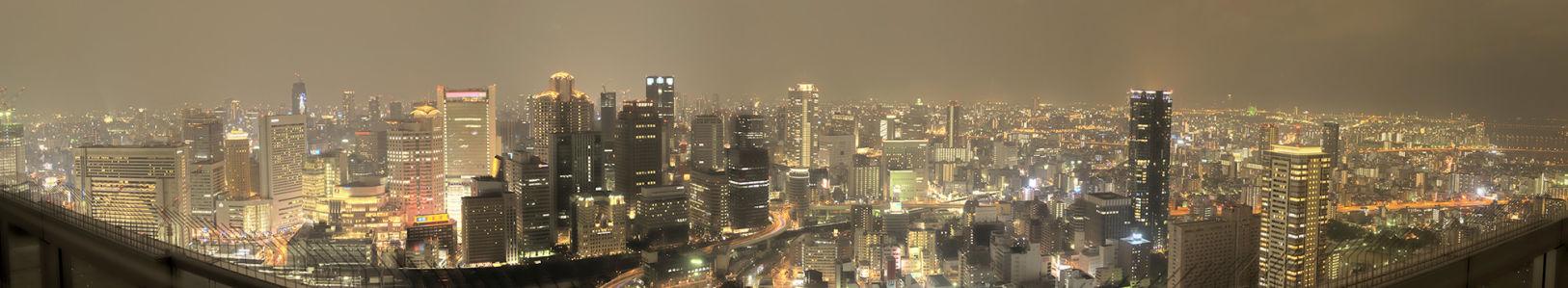 Фотообои панорама осаки япония ночная (city-0000045)