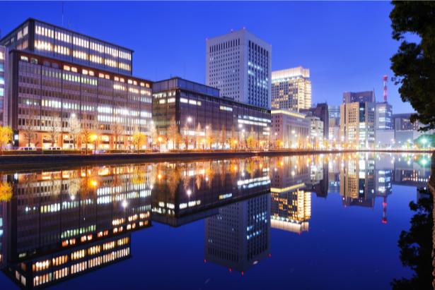 Фотообои ночной токио река (city-0001158)