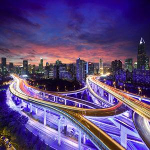 Фотообои ночной Шанхай развязка (city-0001168)