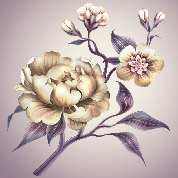 Комнатные обои рисованная цветущая ветка (flowers-0000621)