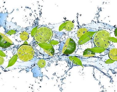Фотообои лайм в воде (food-352)