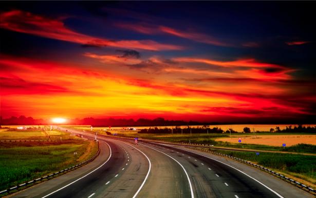 Фотообои с природой дорога на закате (nature-00037)