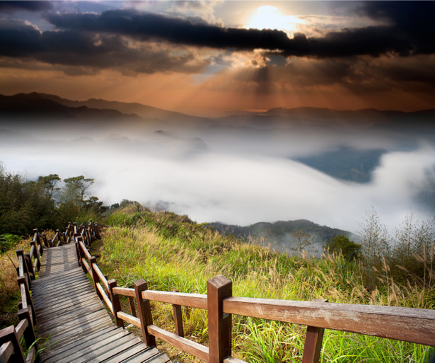 Фотообои лестница на горе закат (nature-00549)