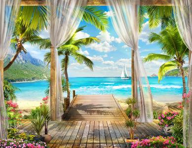 Фотообои Пляжный домик на острове (printmaking-0000114)