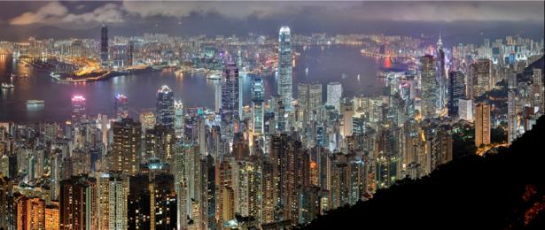 Фотообои ночные небоскрёбы ГонКонг (city-0000100)
