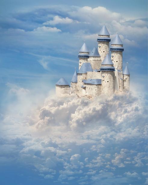 Детские фотообои - Замок в облаках (city-0001393)