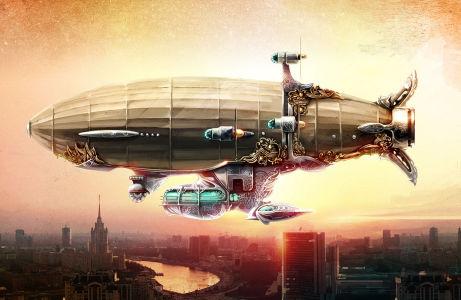 Фотообои дирижабль над городом (fantasy-0000180)