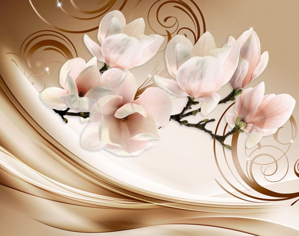 Фотообои Ветка магнолии на декоративном фоне (flowers-799)