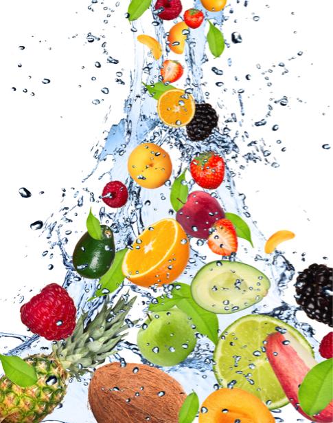 Обои на кухню фрукты в потоке воды (food-0000108)