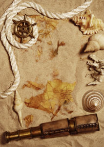 Фотообои старая карта компас ракушки (map-0000201)