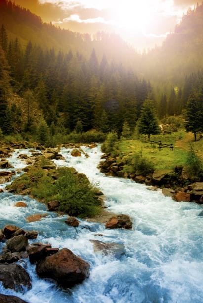 Фотообои бурлящая горная река (nature-0000666)