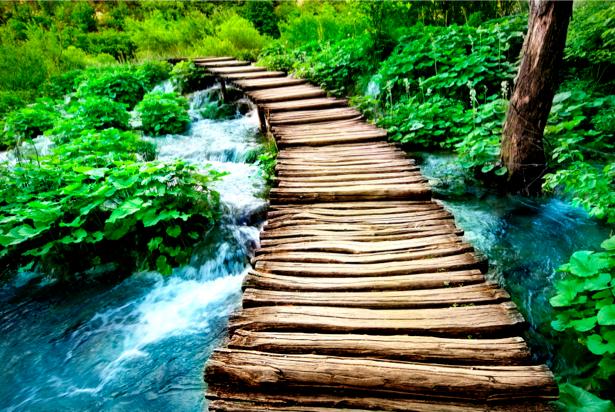 Фотообои мост через горную реку (nature-00024)