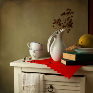 Фотообои натюрморт с белым кувшином (still-life-0080)