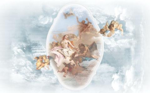 Фреска фото обои ангелы амуры композиция (angel-00049)