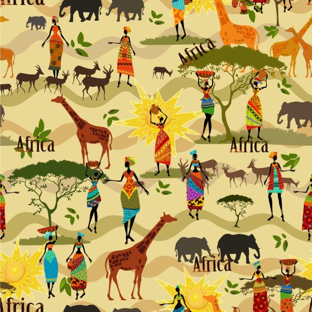 Паттерн фотообои Африка жирафы (animals-0000471)