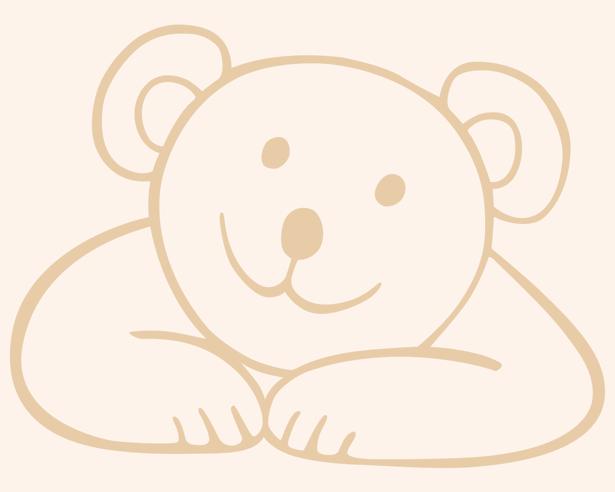 Детские фотообои мишка рисованный (children-0000125)