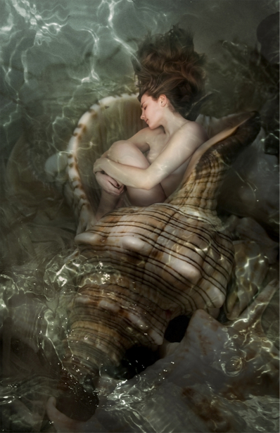 Фотообои девушка спящая в ракушке (fantasy-0000128)
