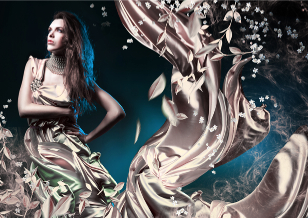 Фотообои креатив девушка платье атлас (glamour-0000005)